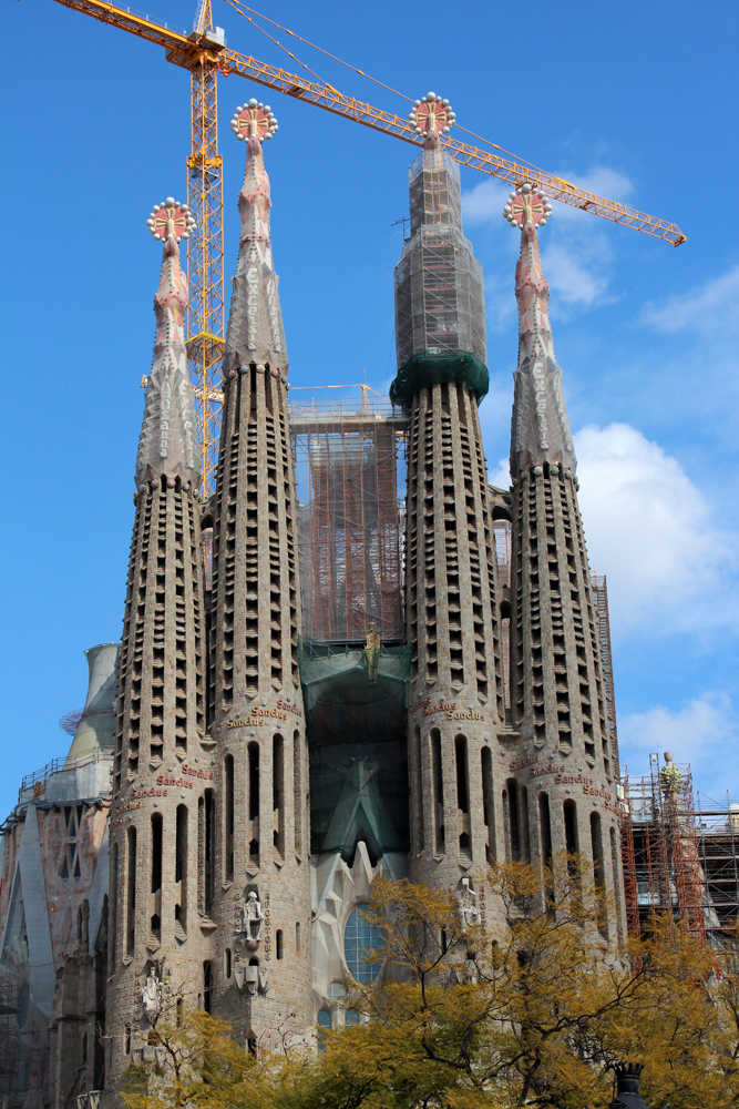 The exterior of the Sagrada Familia, still under construction.